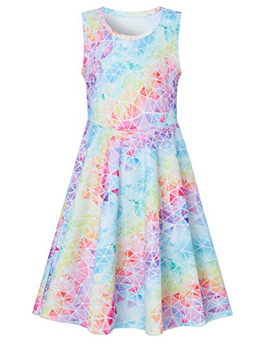 Little Girls Rainbow Mermaid Graphic Sleeveless Dresses 3D Printed Kneel Length Tunic Sundress Beautiful Dance Party Skirt 6-7 T ()