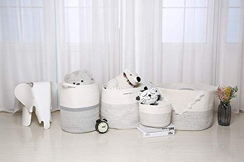 "INDRESSME XXXLarge Cotton Rope Basket 21.7"" x 21.7"" x 13.8"" Woven Baby Laundry Basket for Blankets Toys Storage Basket with Handle Comforter Cushions Storage Bins Thread Laundry Hamper-Black Stitch"
