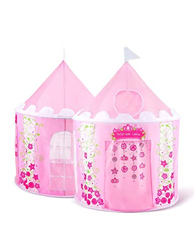 Sparkly Sophia Kids Princess Castle Play Tent House Girls Toy for Children Indoor Outdoor Use Tunnels Storage with Carrying Case Designer's Child Gift Furniture Room Decoration 43''D x 54''H