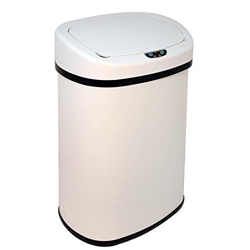 Walomes New 13-Gallon Touch Free Sensor Automatic Touchless Trash Can Kitchen Office & Modern 13 Gallon Touch-Free Sensor Automatic Stainless-Steel Trash Can Kitchen (White)