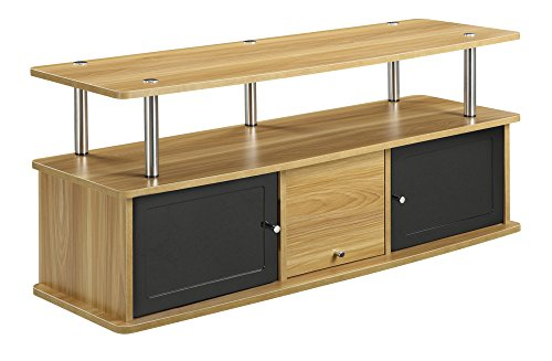Convenience Concepts Designs2Go TV Stand with 3 Cabinets for Flat Panel TV's Up to 50-Inch or 85-Pounds, Light Oak
