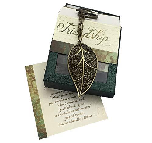 Smiling Wisdom - Bronze Leaf Key Chain Reason Season Lifetime Friend Gift Set - Friendship Greeting Card - Leaf Keychain Sentiment - For Good True Best Friend - Leaf 2.25x1.25 - Antique Bronze - New