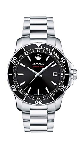 - Movado Men's Series 800 Sport Stainless Watch with Printed Index Dial, Silver/Black (Model 2600135)
