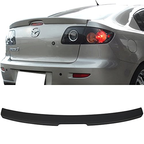 06 Flush Mount Wing - Trunk Spoiler Fits 2004-2009 Mazda 3 | OE Style ABS Unpainted Black Flush Mount Trunk Boot Lip Spoiler Wing Deck Lid By IKON MOTORSPORTS | 2005 2006 2007 2008