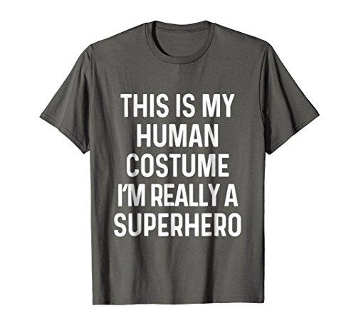 Mens Funny Superhero Costume Shirt Halloween Kids Adult Men Women Medium Asphalt
