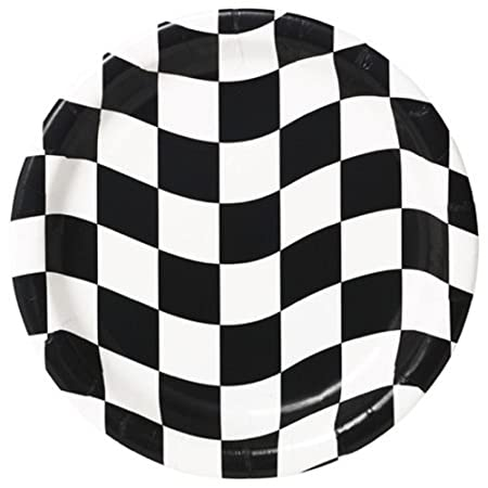 Creative Converting 24 Count Round Dinner Plates Black and White Check