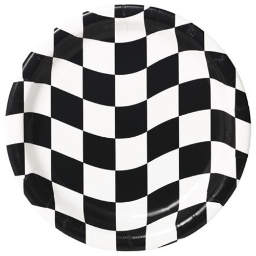 Creative Converting 8 Count Round Dinner Plates, Black and White Check