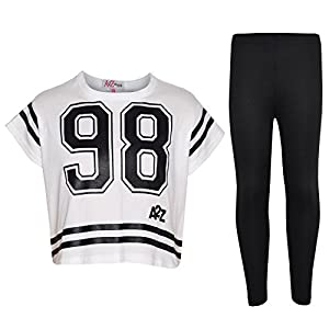 A2Z 4 Kids� Girls Top Kids 98 Print Stylish Crop Top & Fashion Legging Set