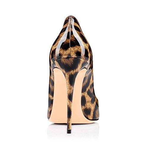 Arc-en-Ciel los zapatos de las mujeres de las bombas de tacón alto del dedo del pie redondo del corazón del leopardo del cuero de patente Leopard