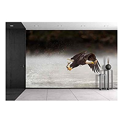 an Adult Bald Eagle Grabs a Fish from The Water Early One Morning with a Big Splash Behind It as It Flies Away. - Removable Wall Mural | Self-Adhesive Large Wallpaper - 66x96 inches
