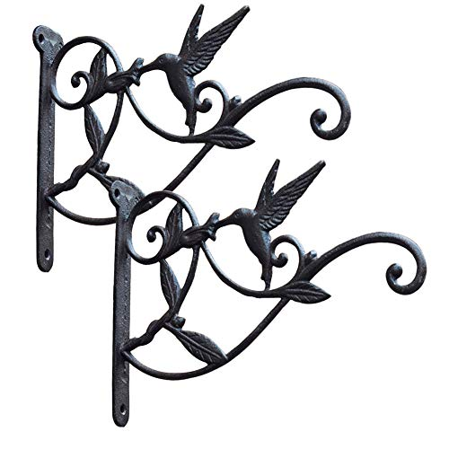 Cast Iron Plant Hooks Vintage Wall Hanging Brackets for Lanterns,Planters,Flower Pot Baskets,Wind Chimes,Wind Spinners,Bird Feeders,Garden Patio Lawn Indoor Outdoor Decor (Black 2 ()