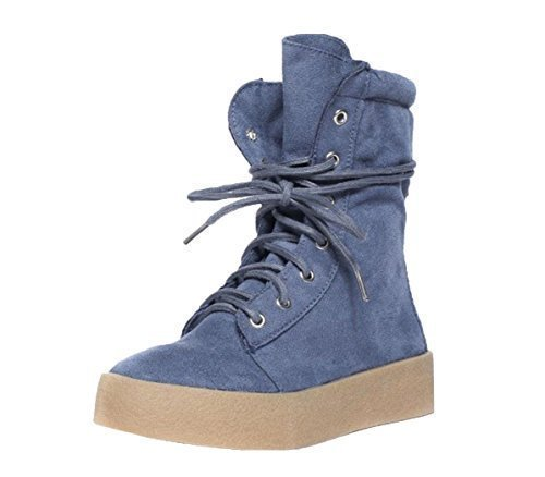 Top Ladies High G8 Trainer Suede CRAZY Ankle Platform Blue Chunky SHU Boots Faux Lace Womens Flat Up Shoes gwP4nfqRxU