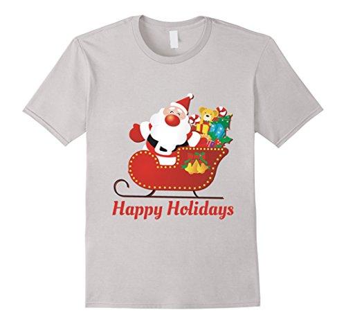 Mens Happy Holidays Santa Delivering Gifts Medium Silver