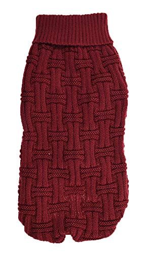 (MaruPet Puppy Dog Ribbed Knit Rolled Sweater Knitwear Twist Turtleneck Kintted Doggie Hoodies Four-Legs Apparel for Small and Medium Dog WineRed XS)