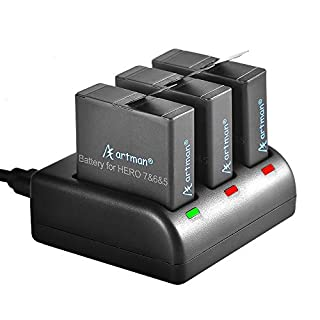 Artman Hero 5/6/7 1480mAh Replacement Batteries(3-Pack) and 3-Channel LED USB Charger Compatible with GoPro Hero 7 Black,GoPro Hero 6 Black,GoPro Hero 5 Black,Hero 2018(Fully Compatible with Original)
