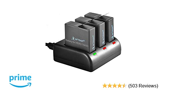 Artman GoPro Hero 5/6/7 1480mah Replacement Batteries (3 Pack) and 3-Channel LED USB Charger for GoPro Hero 5 Black, AHDBT-501, Hero(2018),Hero 6,Hero 7 Black(Fully Compatible with Original)