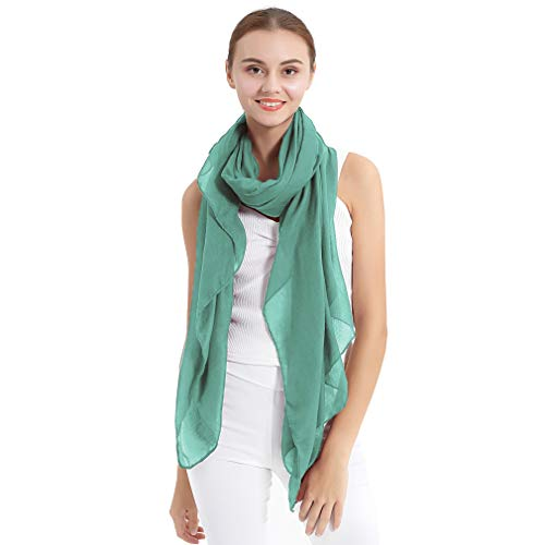LMVERNA Womens Long Scarf in Solid Color Large Sheer Shawl Wraps for Evening (Mint)