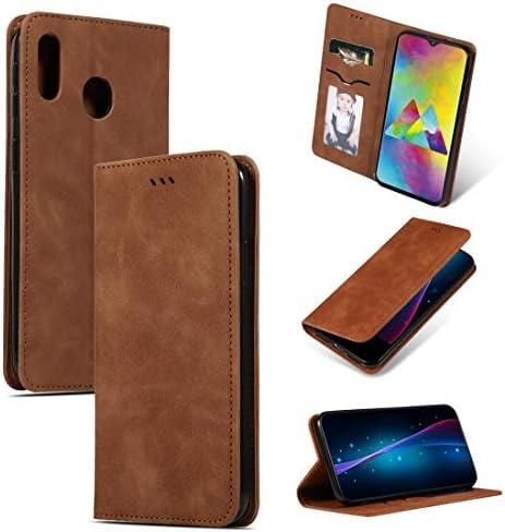 あなたの携帯電話を保護する サムスンギャラクシーM20のためのレトロな肌の感触ビジネス磁気水平フリップレザーケース (5 Col