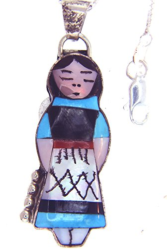 Made IN USA By Zuni Artist Joyce Waseta Sterling Silver Native American Indian Doll necklace with Man made synthetic stones