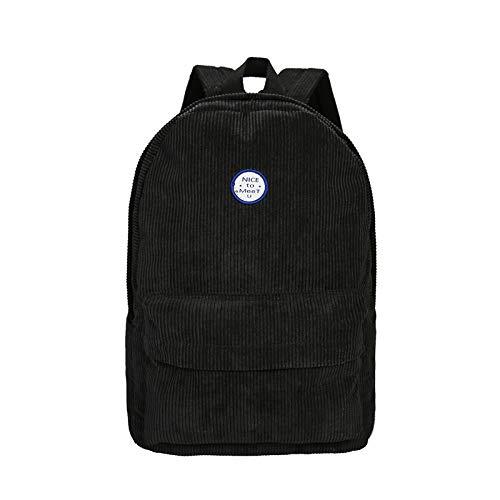 Cashmere's Rucksack Frauen Leinwand Student Tasche Campus Casual Corduroy Travel Rucksack, 25  42  13 cm, schwarz