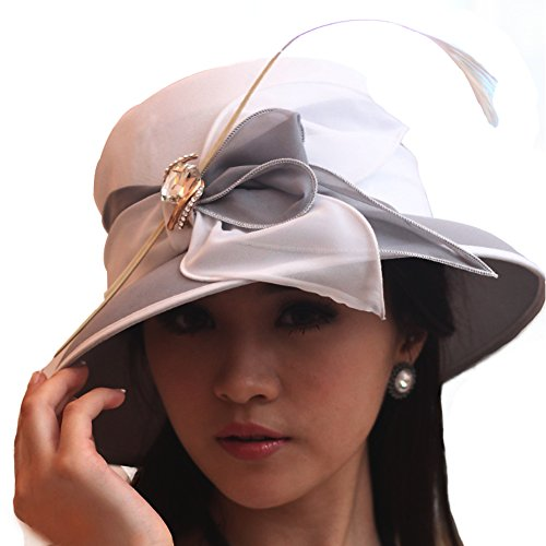 June's Young Women Hat Formal Dress Hat Chiffon Fabric Feather Two Tone Colors (Grey/White)