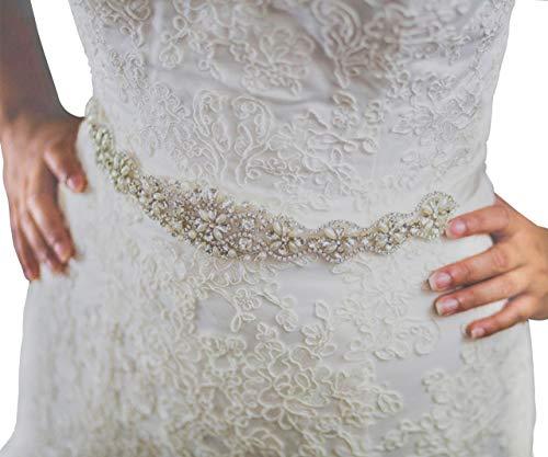 SWEETV Pearl Wedding Belt Beaded Bridal Belt Applique Bridesmaid Sash Belt for Women Dress & Gown, - Sash Bridal Dress