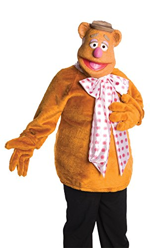 UHC Unisex Plush Shirt Fozzie Bear Comical Theme Party Adult Halloween Costume, STD (Up to 44) (Fozzie Bear Adult Costume)
