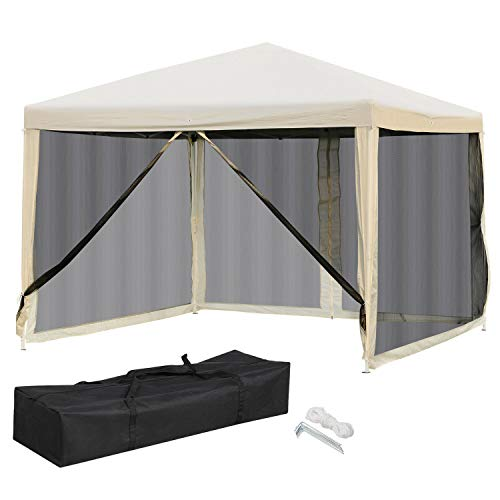 ANA Store Outside Shade Dinner Celebration with Side Walls Carry Bag White 10'x10'EZ Pop UP Party Tent Patio Gazebo Canopy Mosquito Mesh Net Shade Outdoor