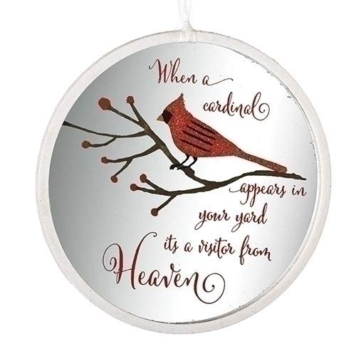Cardinal Visitor From Heaven Glitter 4.5 Inch Glass Memorial Disk Christmas Ornament -