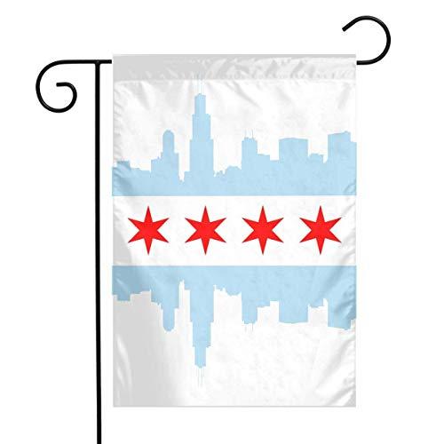 LMHB Chicago City Flag Garden Flag House Banner - 12 X 18 Inch