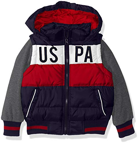 US Polo Association Boys' Big Bubble Vest Jacket with Fleece Sleeves, Navy/Red, 8
