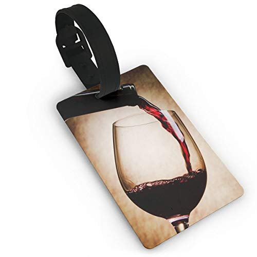(Homlife Red Wine Glass Bottle Art PVC Travel Luggage Tag with Strap for Baggage Bag/Suitcases - Business Card Holder Name ID Labels Set for Travel)