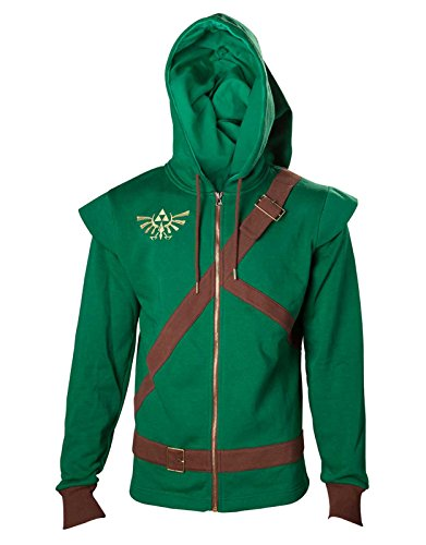 Link Costume Uk (Zelda Hoodie Link Cosplay Costume Triforce Shield Official Mens Green Zipped)