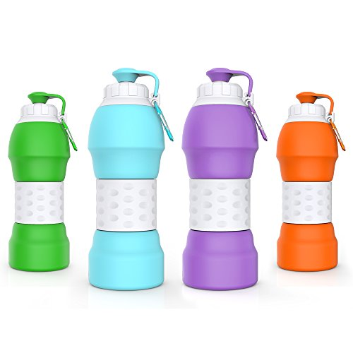 GITKARL Collapsible Water Bottle, Travel Accessories,Lightweight Silicone Travel Mug,[BPA Free] [FDA Approved] -Purple