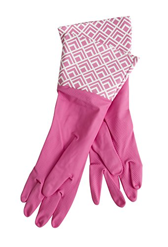 Glam-Gloves Dishwashing Gloves For Cleaning, Thick Latex Gloves for Kitchen, Restroom and Home, Long Sleeves, 3 Pairs of Gloves, Assorted Colors and Patterns, One Size Fits - Lined Gloves Print