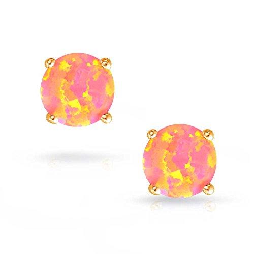 Bling Jewelry Boucles d'oreille Pierre d'Opale style solitaire coloré en argent