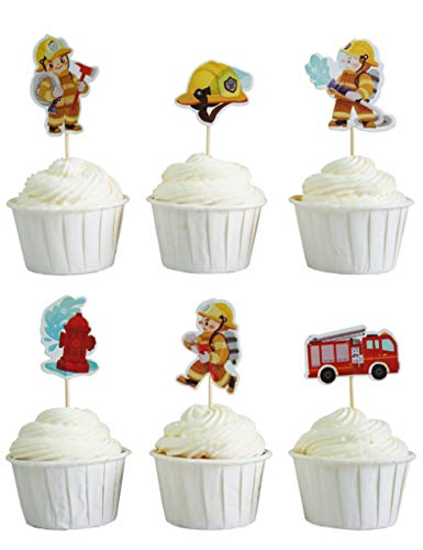 (BeBeFun Cupcake Decorative Toppers The Firefighter Brave Fireman Firetruck Birthday Party Cupcake Decorating Tools for Party Supplies 24 Pieces in Pack.)