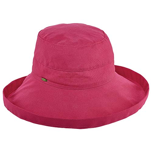 Scala Women's Cotton Hat with Inner Drawstring and Upf 50+ Rating,Fuchsia,One ()