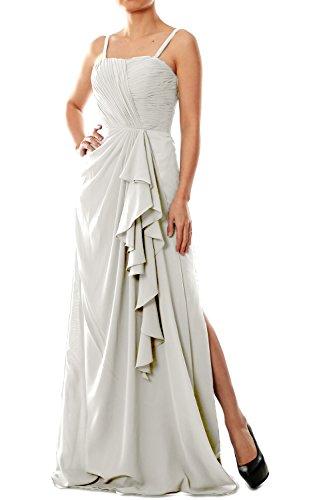 Chiffon Formal Evening Elfenbein Women Bridesmaid Dress Long Gown MACloth Spaghetti Straps wC1qxgTI