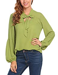 Se Miu Women S Long Sleeve Solid V Neck Pleated Chiffon Blouse Tunic Shirt Tops Green S