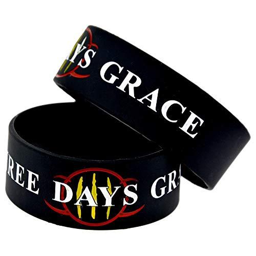 DuDuDu Silicone Bracelet Three Days Grace Band 1-inch Star Wrist Band Creative Gift Set of 2 Pieces Birthday Gift