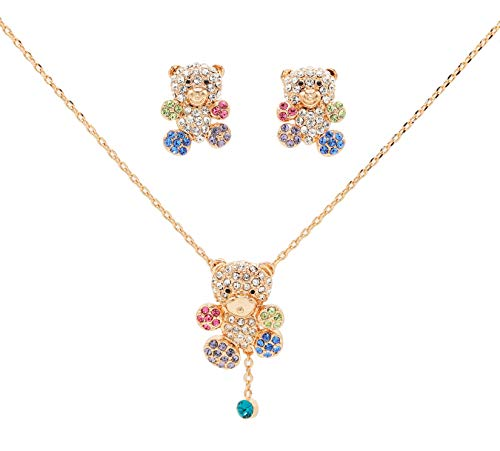 Gold Plated Cute CZ Teddy Bear Pendant Necklace and Earrings Jewelry Set for Girls Gift