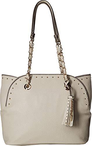 Jessica Simpson Womens Dorota Faux Leather Studded Tote Handbag Ivory Medium from Jessica Simpson