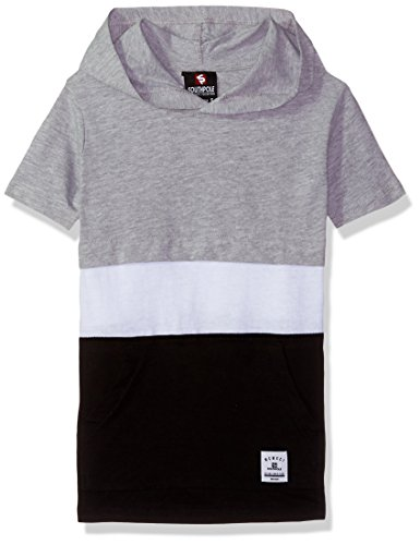 (Southpole Boys' Little' Short Sleeve Hooded Fashion Tee (Age4-7), Heather Grey/Color Block, Large)