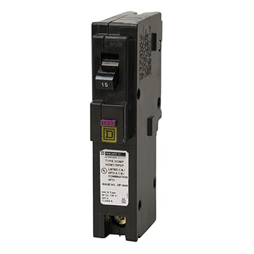 Square D by Schneider Electric HOM115PDFC Homeline Plug-On Neutral 15 Amp Single-Pole Dual Function (CAFCI and GFCI) Circuit Breaker, ,