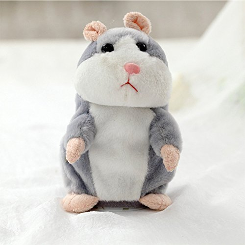 Lanlan Lovely Talking Plush Hamster Toy Can Change Voice Record Sounds Nod Head or Walk Early Education for Baby gray and nodding; height:15cm