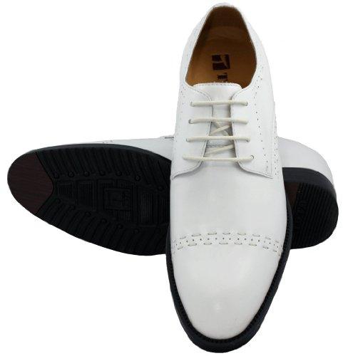 Toto-x1502-7,6cm Grande Taille-Hauteur Augmenter Ascenseur jusqu'en dentelle Chaussures en cuir (Blanc)