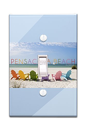 Pensacola Beach, Florida - Colorful Beach Chairs (Light Switchplate Cover) (Pensacola Stores)