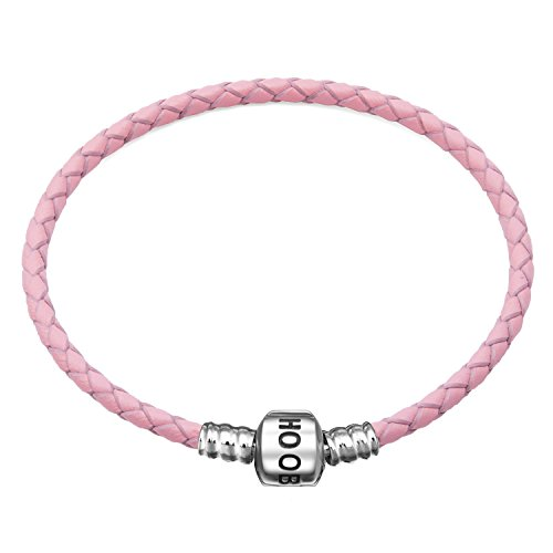 (Hoobeads Genuine Pink Leather Woven Bracelet with 925 Sterling Silver Barrel Snap Clasp Charms Bracelet (18 cm-7.1 inches))