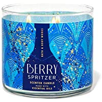 Bath and Body Works White Barn Berry Spritzer 3 Wick Cande 14.5 Ounce Blue Festive Label